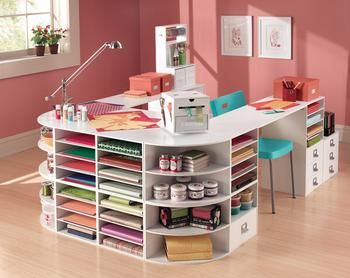 I love this desk! A great way to organize a craft room!