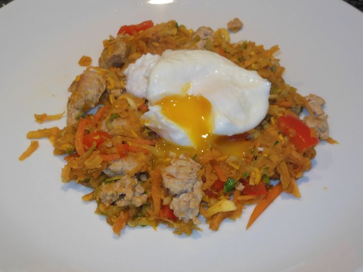 Turkey sausage sweet potato hash with lots of veggies and one ...
