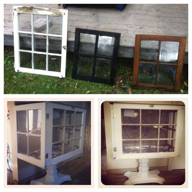 diy bird cage out of old panel windows pet ideas pinterest. Black Bedroom Furniture Sets. Home Design Ideas