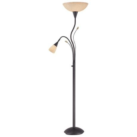 source nevio torchiere floor lamp with reading light. Black Bedroom Furniture Sets. Home Design Ideas