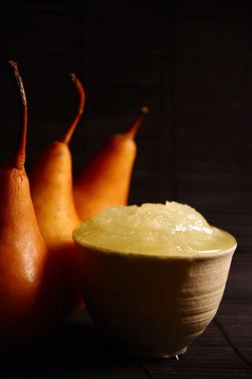 sake and pear sorbet. Recipe: http://www.brytontaylor.com/gluten_free ...