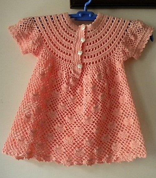 Crochet Baby Robe Pattern : Robes - Modeles pour Bebe au Crochet Croch? Roupas ...