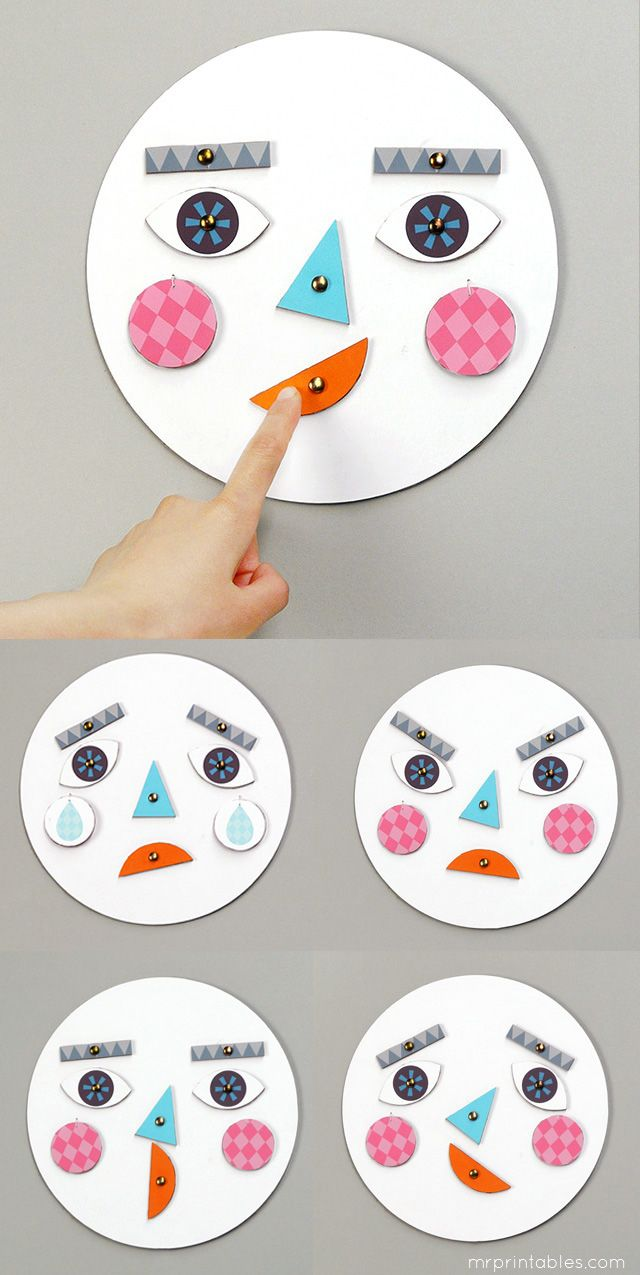 Zelfmaken! Learning about Emotions with DIY toy with changing faces | mrprintables #art #education #emotions #preschool