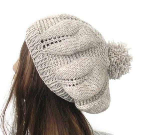 Hand Knit Hat  beret in Oatmeal Beige womens hat  hat by Ebruk, $30.00