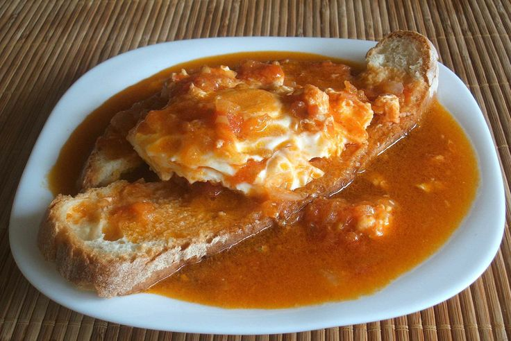 Tomato soup with poached eggs - Food From Portugal