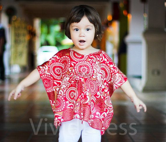 Toddler kaftan caftan kids top red size 3T age 24 to by VividDress, $15.00