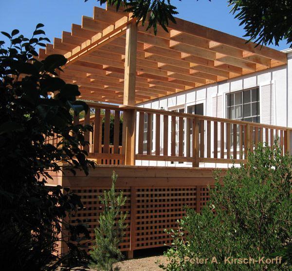 REdwood Deck & Arbor with lattice under deck enclosure