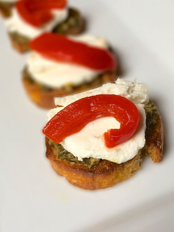 Goat Cheese Crostini with Pesto and Roasted Red Peppers - The Lemon ...