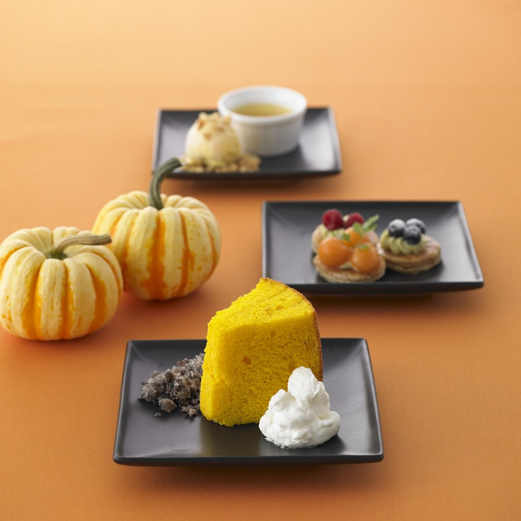 The pumpkin cake and azuki bean sherbet of cream ♯sweets ♯cake ...