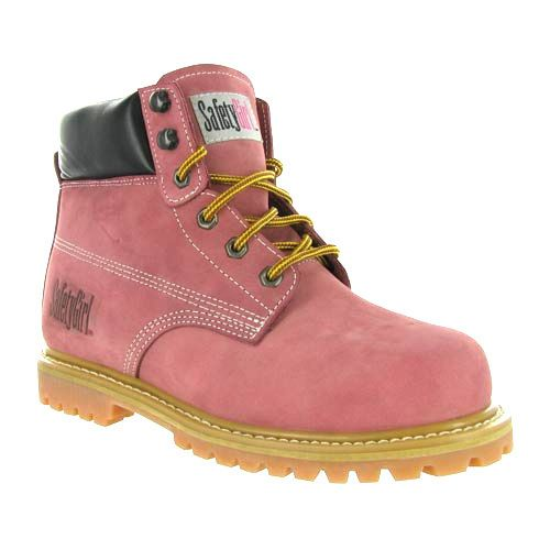 New LADIES PINK GROUNDWORK SAFETY STEEL TOE CAP LEATHER WORK HIKING BOOTS