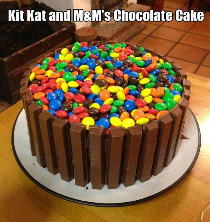 Kit Kat and M&M s Chocolate Cake! For Quade Pinterest