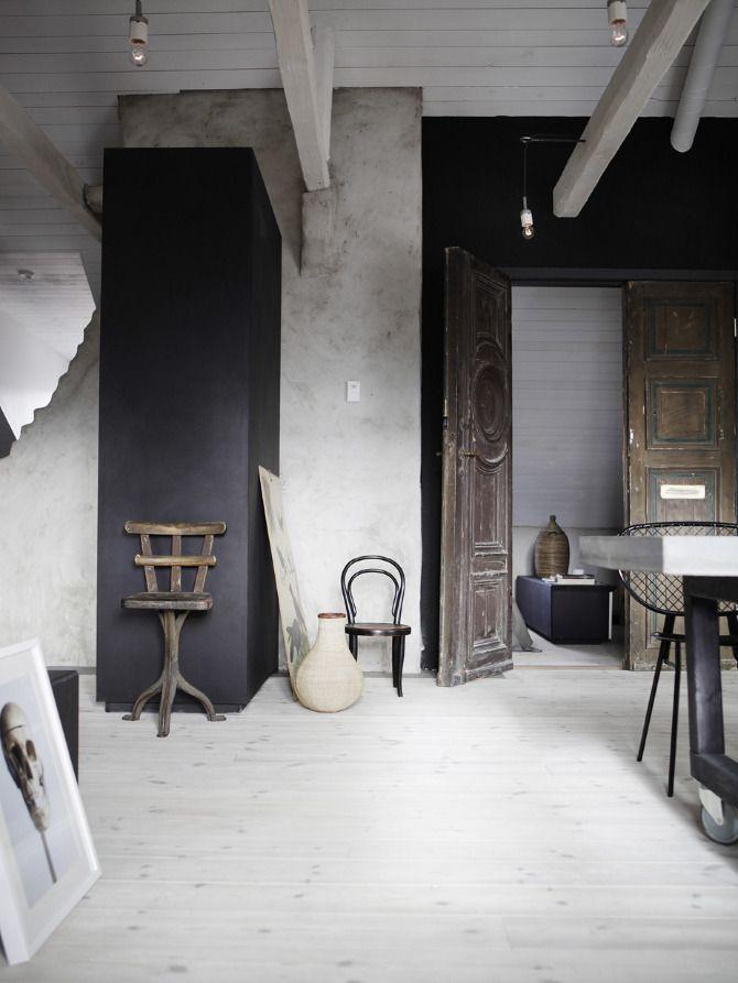 Un intérieur noir et blanc vintage