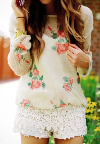 Cute White Lace Skirt With Roses Sweater Shirt