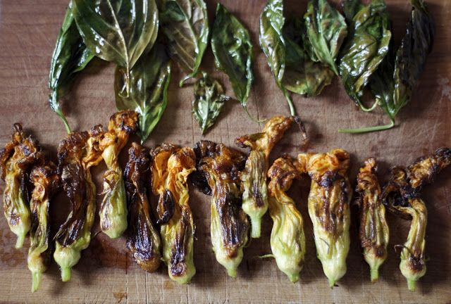 engrained: squash blossom pesto potato skillet
