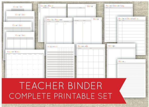 Teacher Binder Set - Classroom Organization Printables PDF