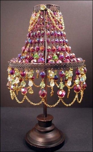 Beaded lamp shade really pretty crafty pinterest for How to make beaded chandelier lamp shades