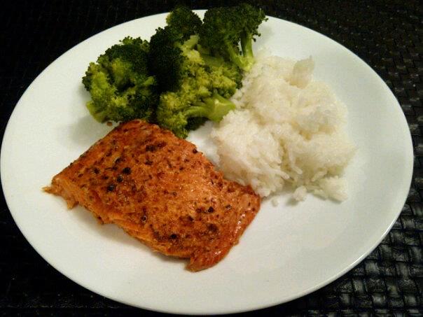 Smoked Chipotle Lime Salmon, Jasmine Rice, and Steamed Broccoli