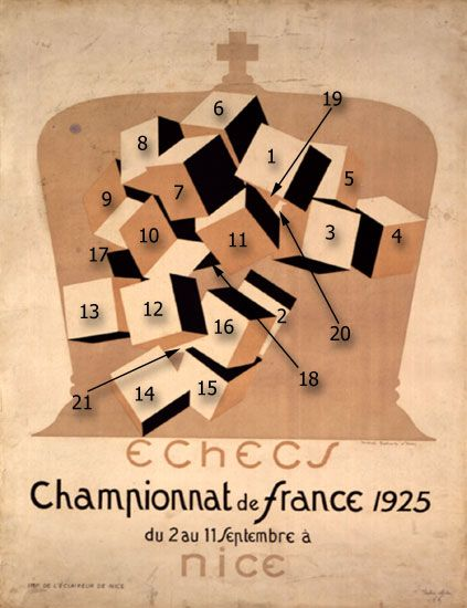 Numbered diagram of the poster for the third french chess championship