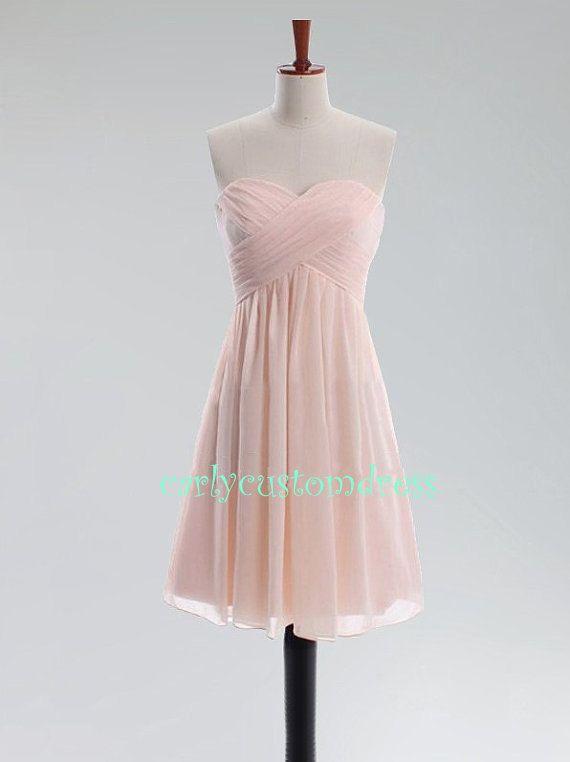 Short blush pink bridesmaid dress grey coral mint green for Short blush pink wedding dresses