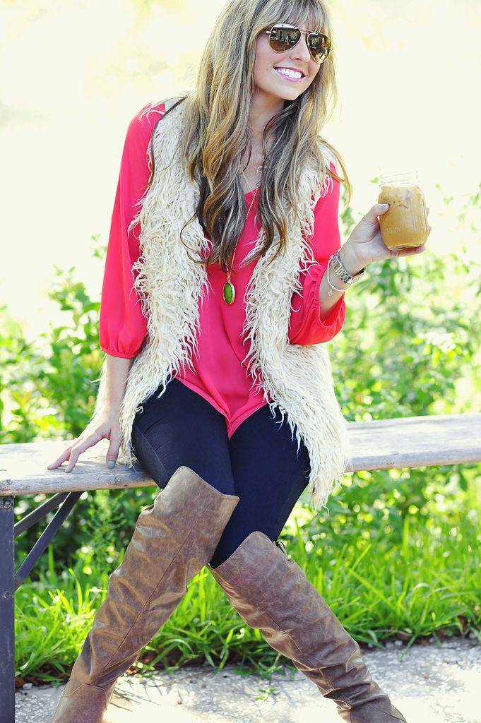 Model Off Duty Fur Vest: Ivory ... pop of color underneath