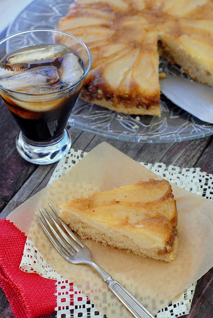 Caramelized Pear Upside Down Cake and Homemade Coffee Liqueur