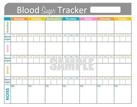 Blood Sugar Tracker - Printable for Health, Medical, Fitness, Blood G ...