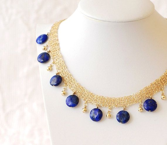 Crochet Jewelry : Crochet Necklaces GF14K With Lapis Lazuli by lenkamuchnik on Etsy, $ ...