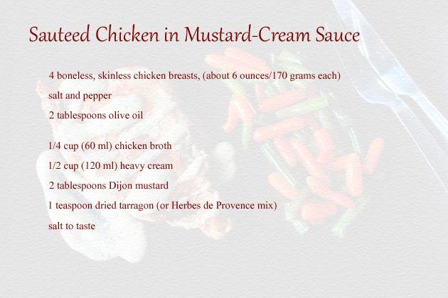 sauteed chicken in mustard cream sauce recipe ingredients