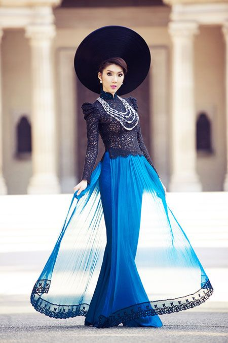 Modern style ao dai thoi dai moi sheer skirt royal blue vietnamese
