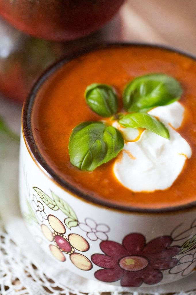 Roasted Tomato Basil Soup Best soup ever. Left off the sour cream and ...