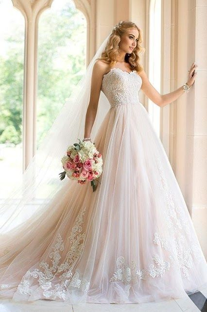 light pink wedding dress #weddingdresses