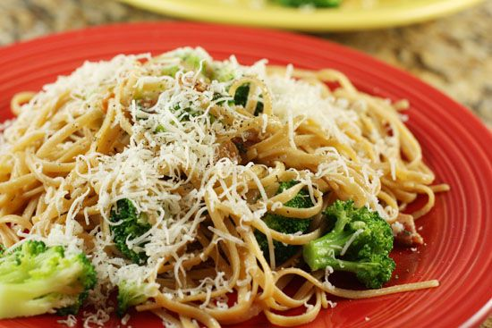 pasta with broccoli and bacon - looks delish