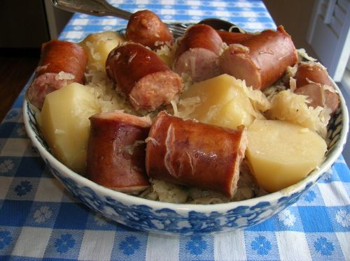 Kielbasa, sauerkraut and potatoes — I dont often cook this but its delicious. I think this would also be great cooked on the stove, in the oven or in a pressure cooker, just depending on