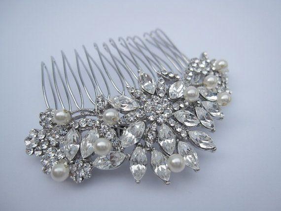 Bridal hair piece crystal and pearl wedding hair comb wedding hair