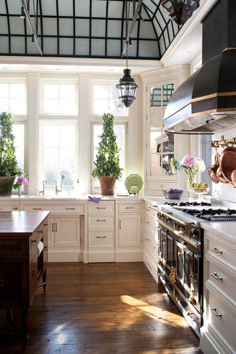 ceiling, floors, range, hood, windows, mirrored corner cabinet...absolutely amazing! All of it!