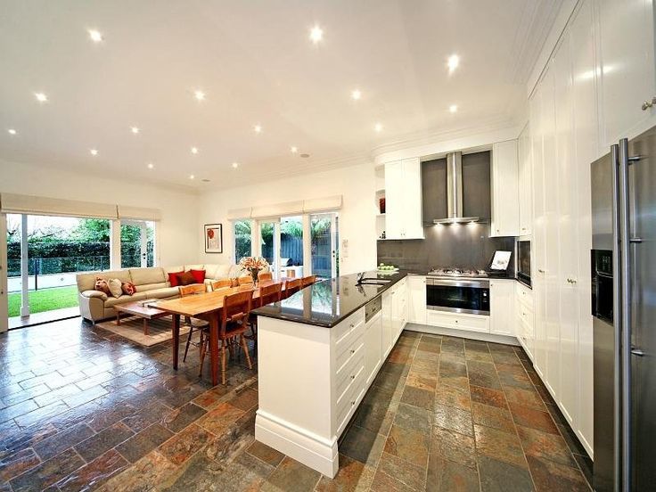 Slate floor, white kitchen  kitchen  Pinterest