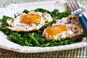... ®: Recipe for Eggs Fried in Olive Oil with Wilted Greens and Sumac