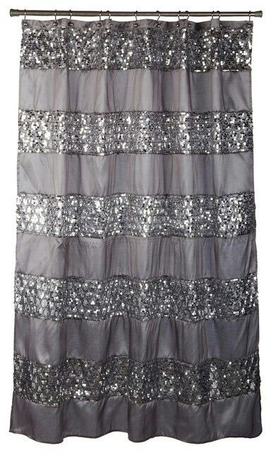 silver glitter shower curtain our home pinterest