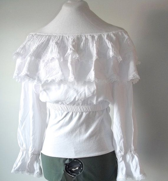 White Peasant Blouse Long Sleeve 65