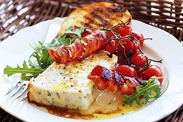 Baked ricotta with roast tomatoes and bacon from taste.com