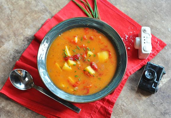 Roasted Red Pepper and Potato Soup | !Deliciosa! | Pinterest
