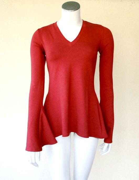 Tulip tunic shirt custom made organic womens clothing by econica, $95