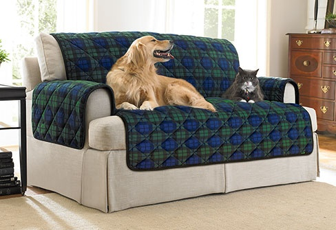 Deluxe Pet Cover In Blackwatch Plaid Couch And Chair