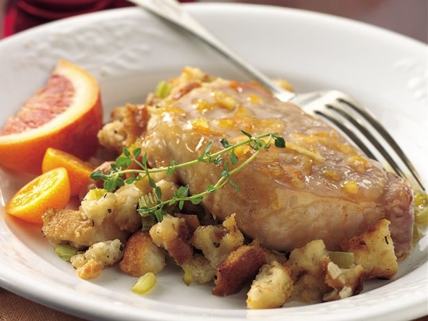 Orange-Glazed Pork Chops with Herb Stuffing | Recipe