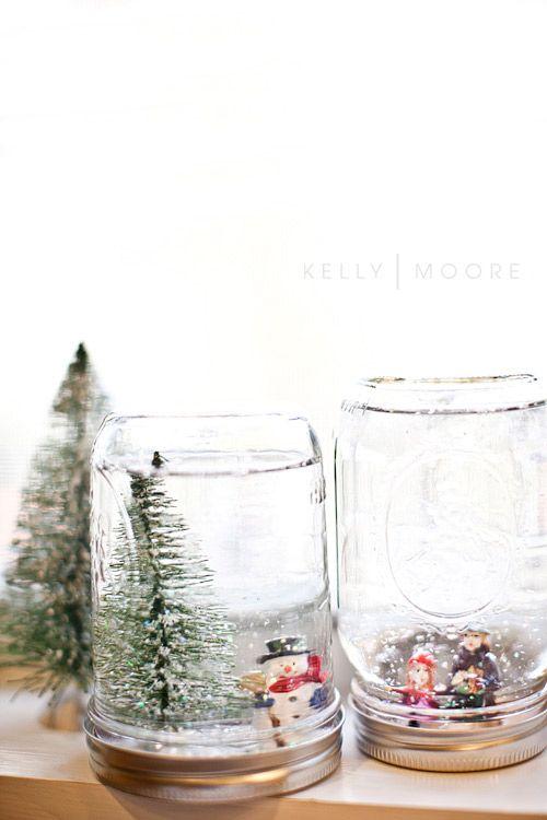 Homemade snow globes christmas crafts pinterest for Easy homemade christmas snow globes