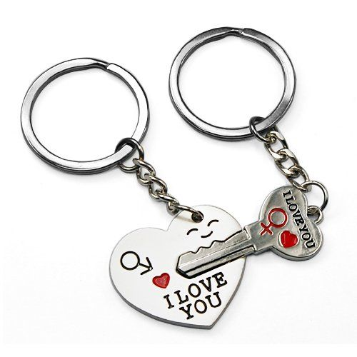 Day gifts for him....World Pride Key to My Heart Cute Couple Keychain ...