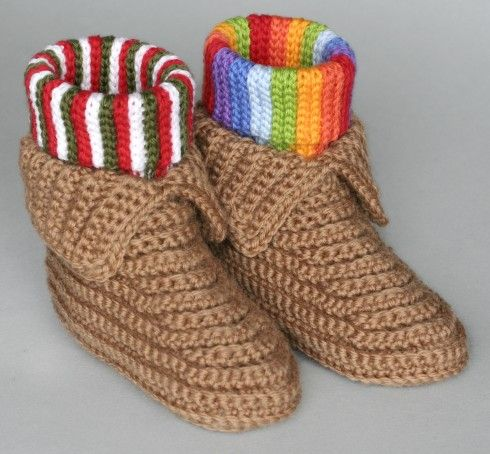 Crocheted Soccasins - free pattern Crochet Pinterest