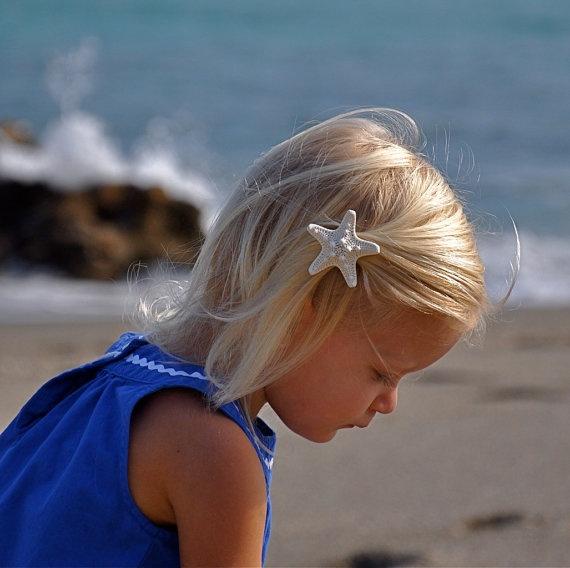 White Starfish Hair Barrette. SEA STAR Beach by sandnsurfcreations