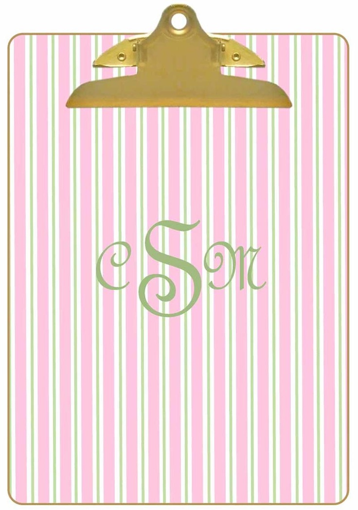 Pink and green monogrammed clipboard