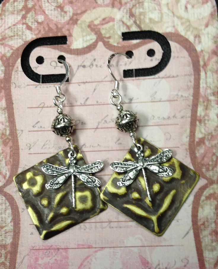 Embossed dragonfly earrings w/gold filled ear wires By Dawn Hill Designs